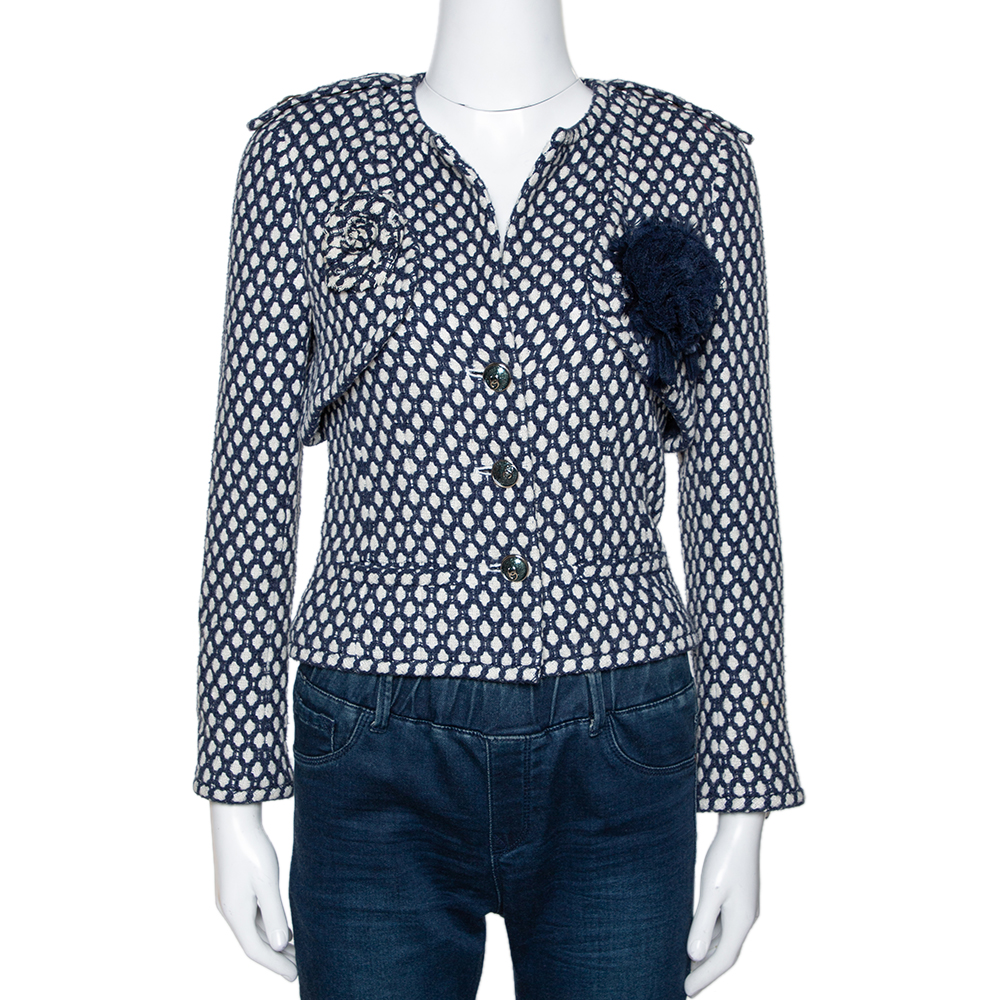 Chanel Navy Blue Tweed Bamboo Blend Brooch Detail Jacket S