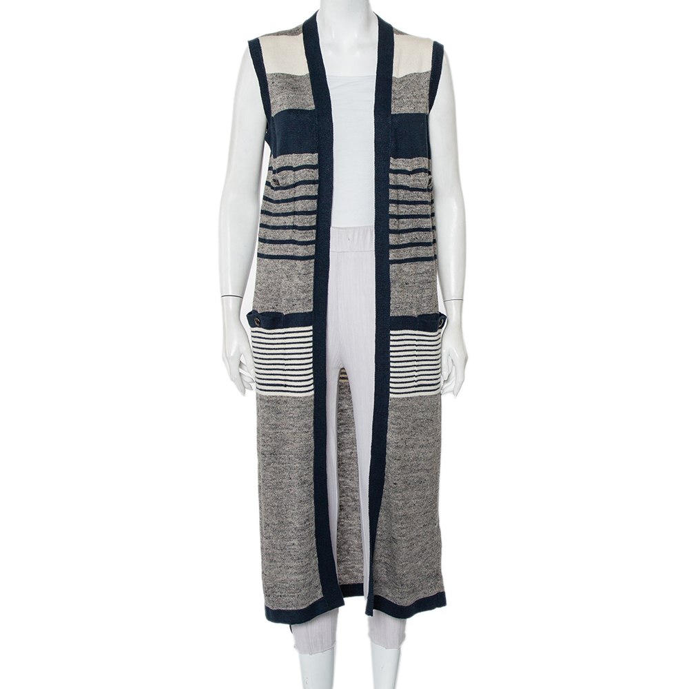Pre-owned Chanel Striped Linen And Cashmere Knit Sleeveless Oversized Long Cardigan S In Grey