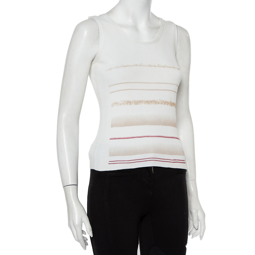 Chanel White Printed Rib Knit Tank Top L  - buy with discount