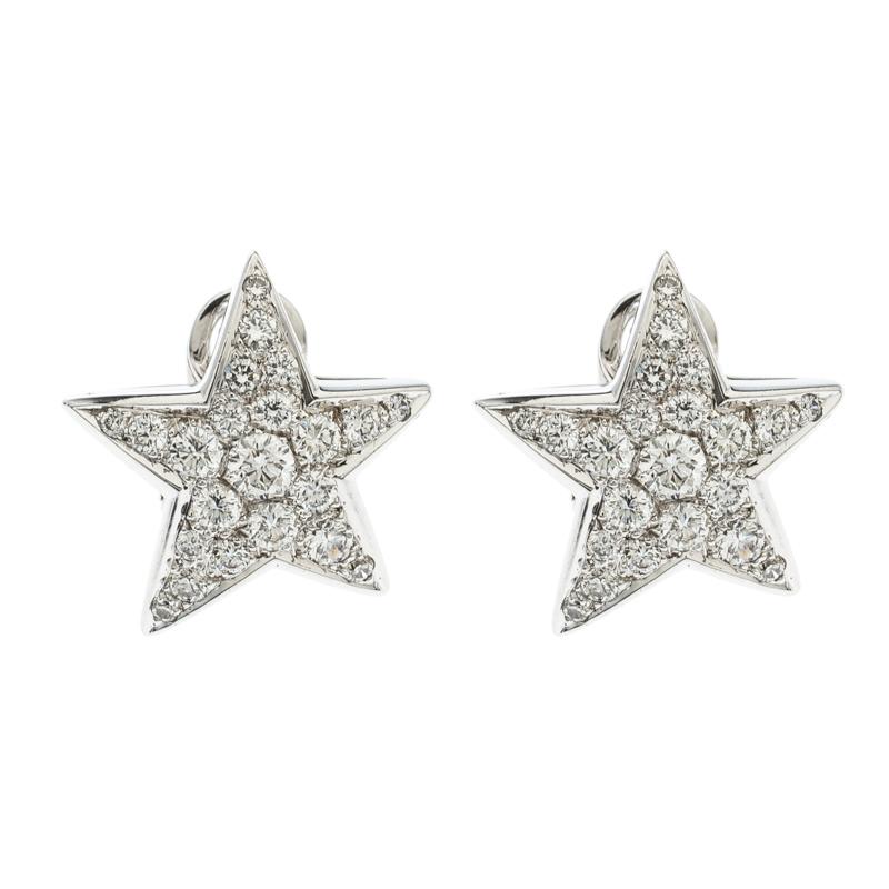 Купить со скидкой Chanel Comete Star Diamond 18k White Gold Stud Earrings