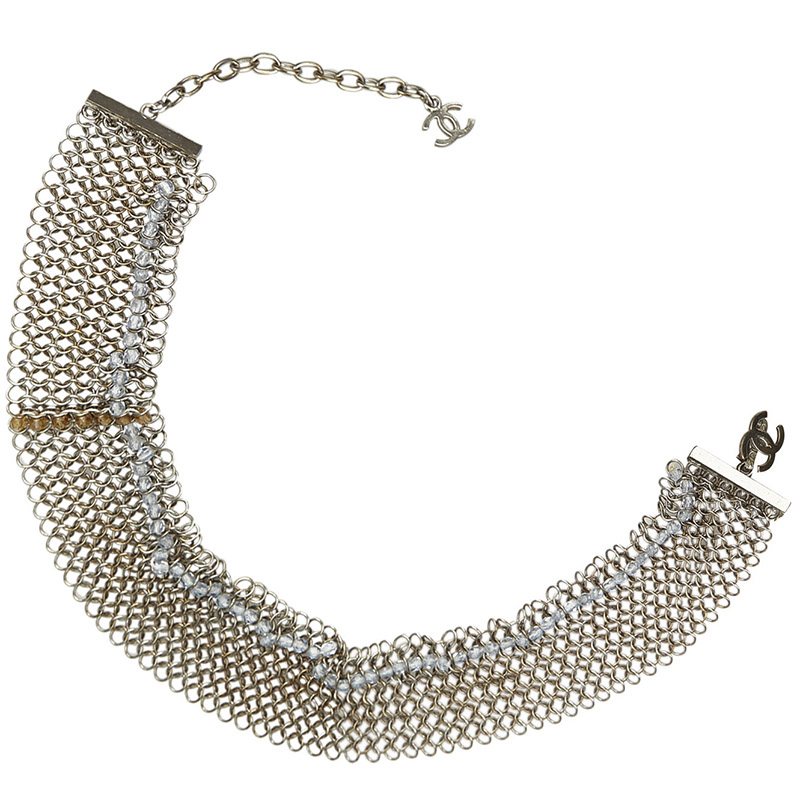Фото #1: Chanel Silver Metal Beaded Metallic Bracelet