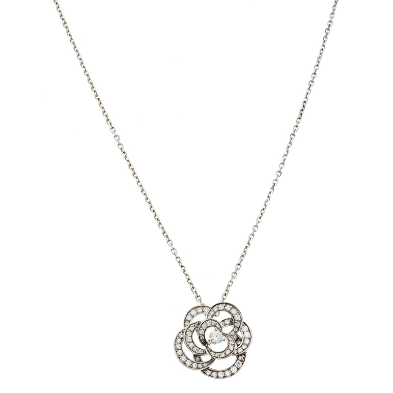 Chanel Fil De Camelia Diamond 18k White Gold Pendant Necklace