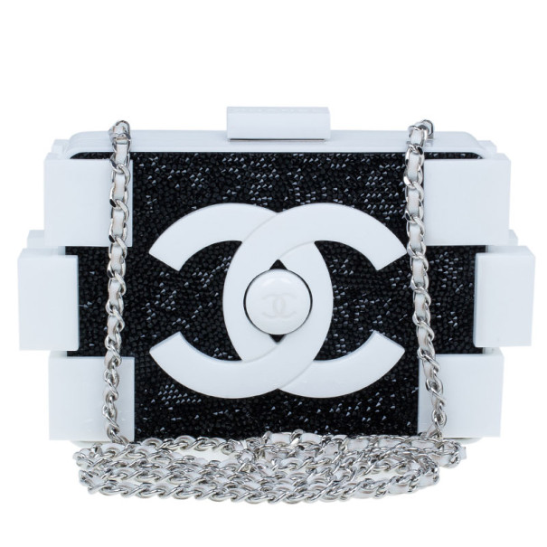 56f8ca2187361d Buy Chanel Black and White Crystal Lego Clutch 10020 at best price | TLC