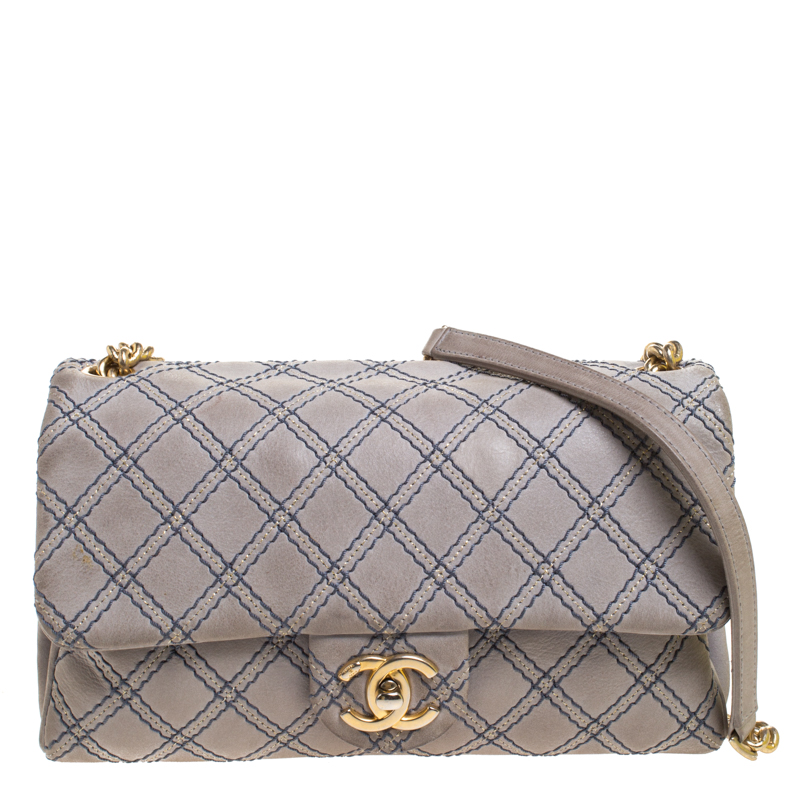 Chanel Grey Metallic Stitch Leather Small Classic Flap Bag