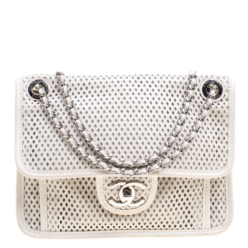 Chanel Off White Perforated Leather Up