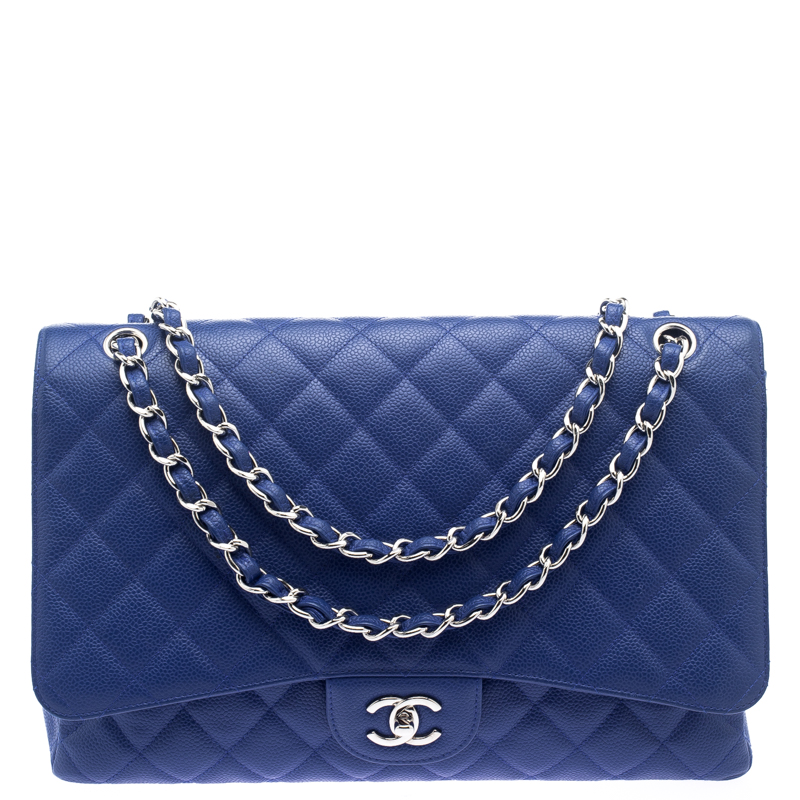 2d9d5335f7a236 ... Chanel Blue Quilted Caviar Leather Maxi Classic Single Flap Bag.  nextprev. prevnext