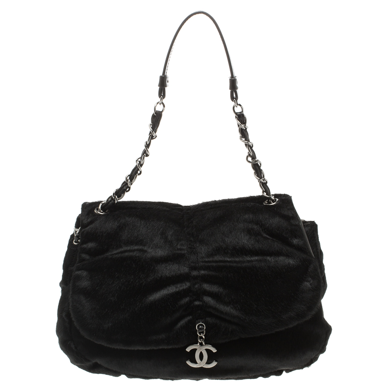 Chanel Black Calfhair Flap Shoulder Bag