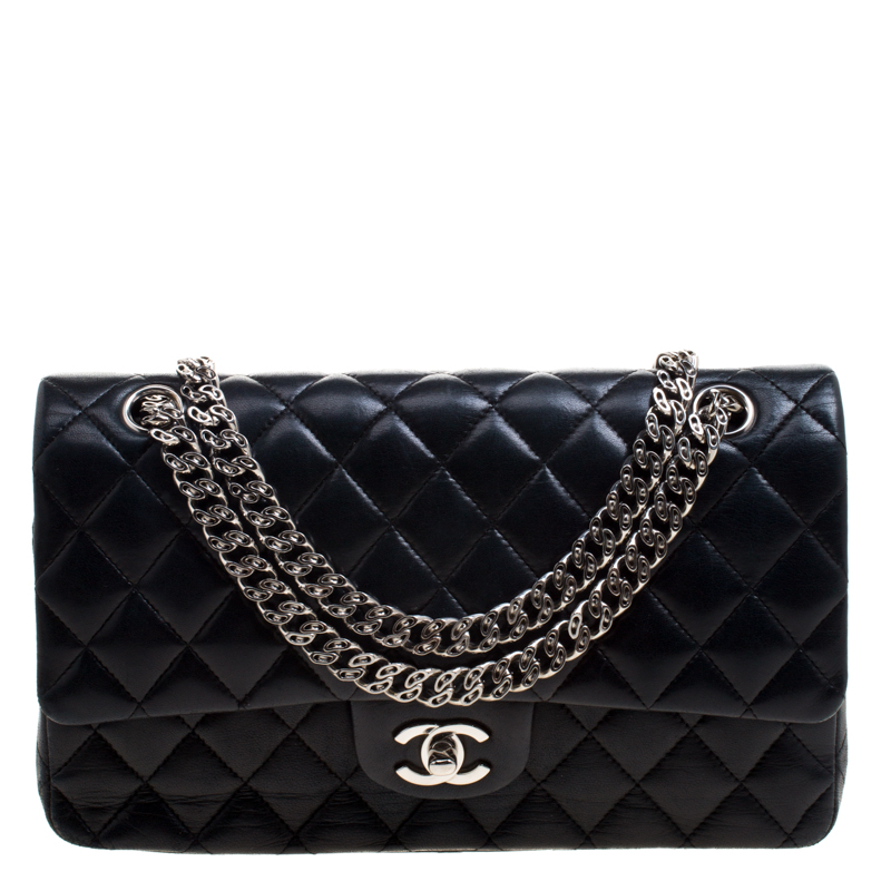 16251546ec0e ... Chanel Black Quilted Leather Medium Bijoux Chain Classic Double Flap Bag.  nextprev. prevnext