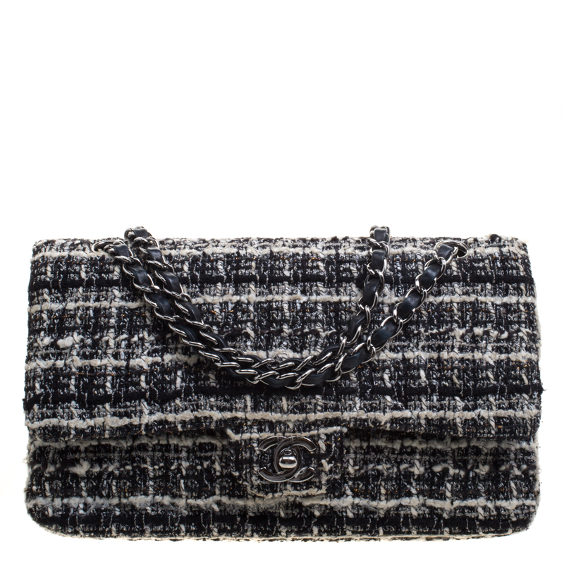 d44f3b024db Buy Chanel Black White Quilted Tweed Medium Classic Double Flap Bag ...