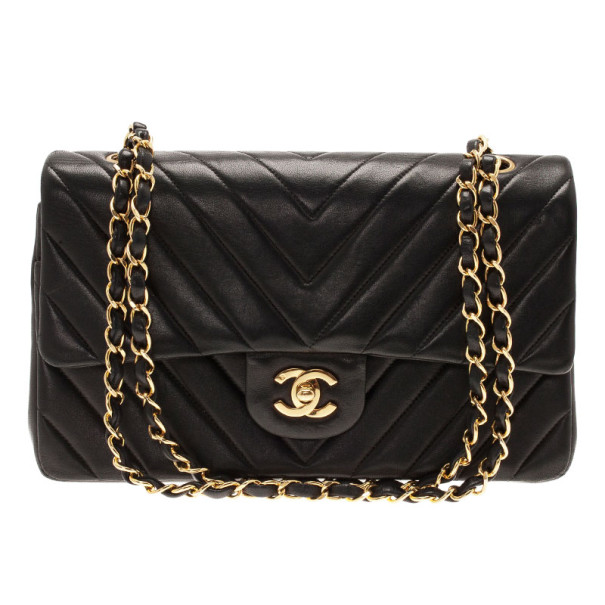 ... Chanel Black Lambskin Chevron Flap Shoulder Bag. nextprev. prevnext e598e6ff8