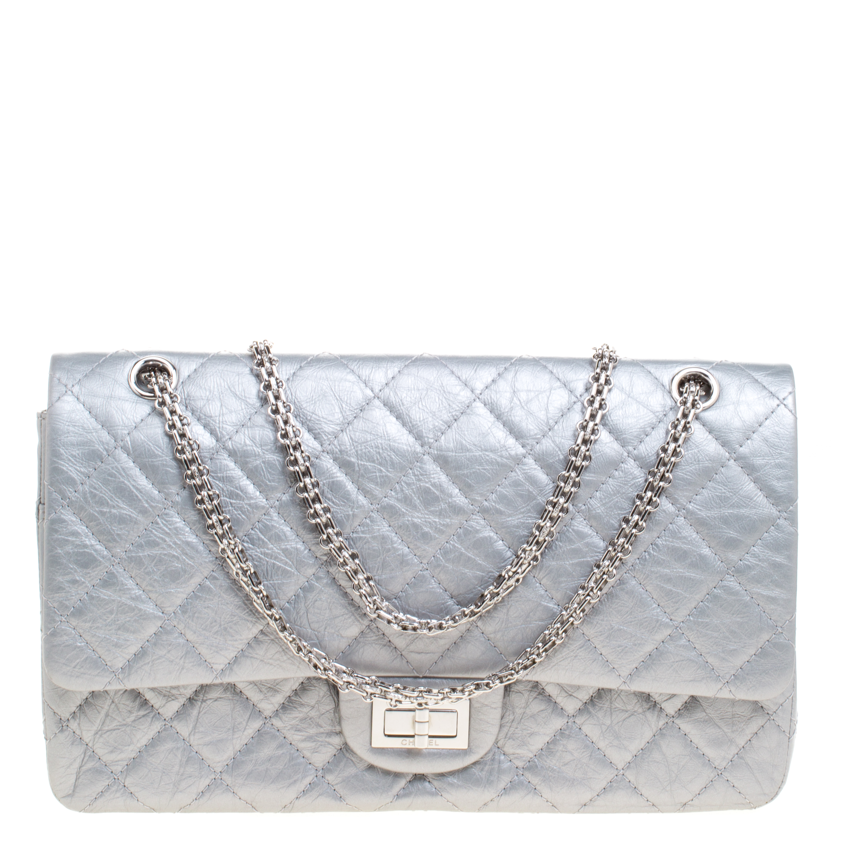 d6017ef66f65 Buy Chanel Metallic Silver Quilted Leather Reissue 2.55 Classic 227 ...