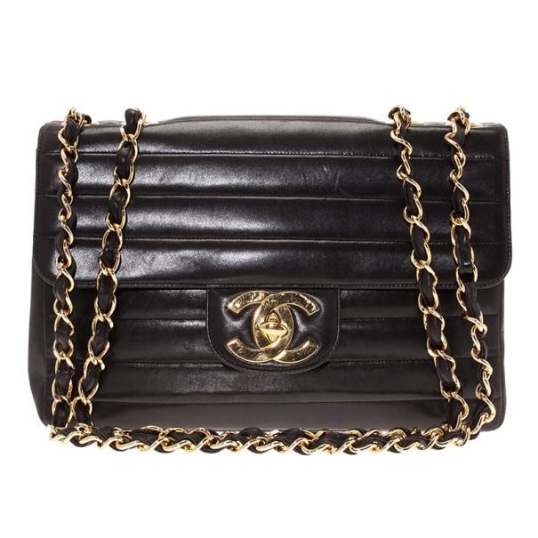 49c3155341a Buy Chanel Black Vintage Horizontal Stitch Bag 11066 at best price | TLC