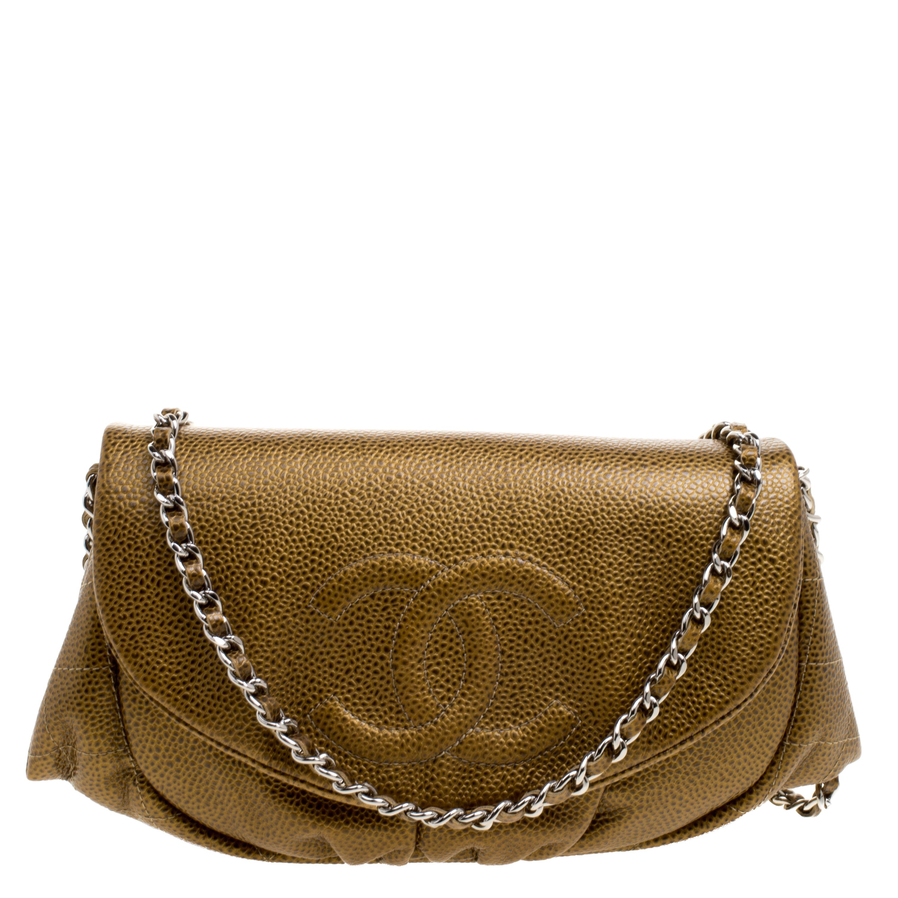 bdbc5f22f3b4 Buy Chanel Gold Leather Halfmoon WOC Bag 110668 at best price | TLC
