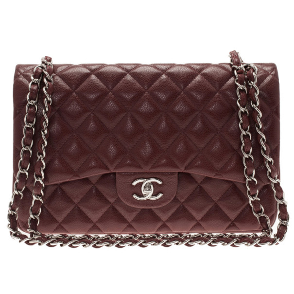 d72c01e506c1d1 Buy Chanel Burgundy Caviar Jumbo Double Flap Bag 11069 at best price | TLC