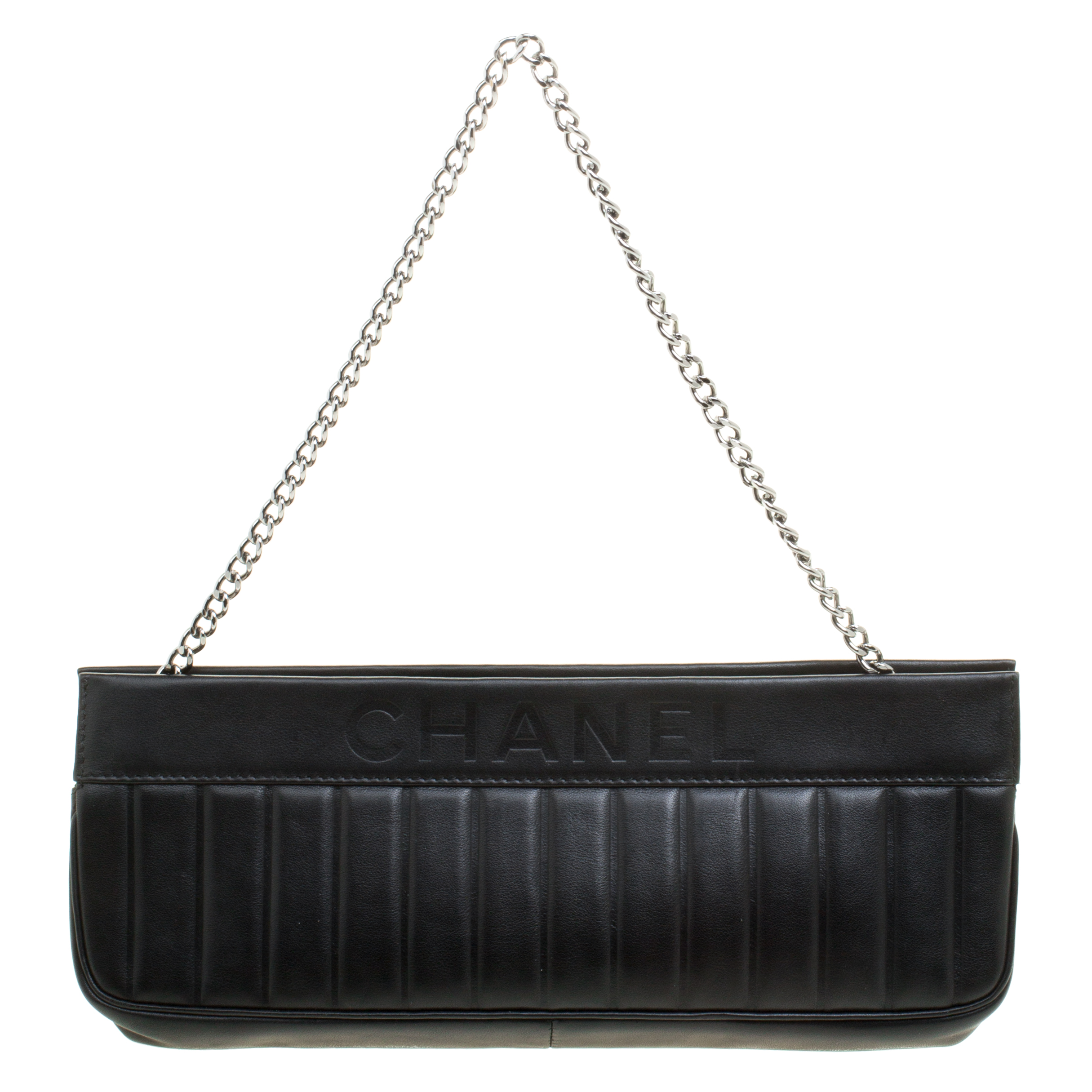 d50c1edaa240 ... Buy Chanel Black Vertical Quilted Leather Chain Clutch 110774 at