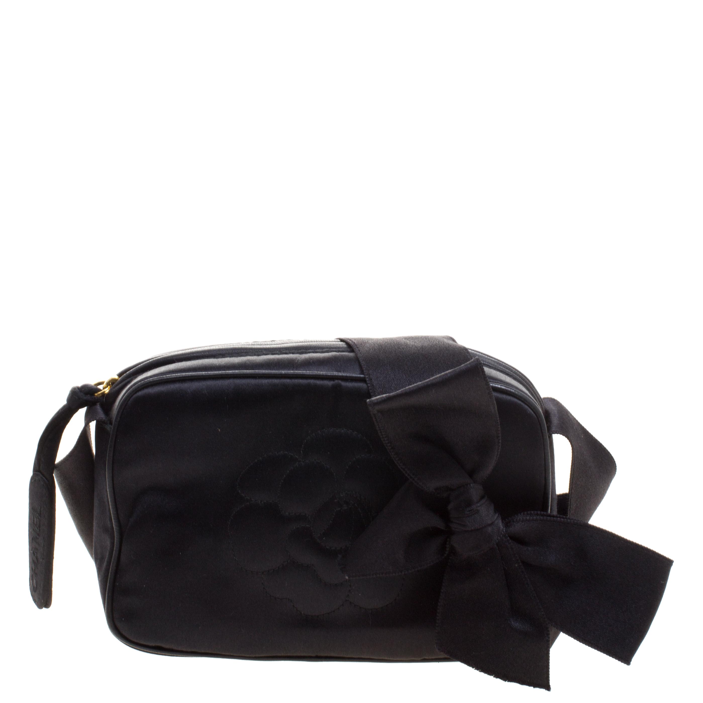 ... Chanel Black Satin Bow Camellia Crossbody Bag. nextprev. prevnext 35fbbcda57f20