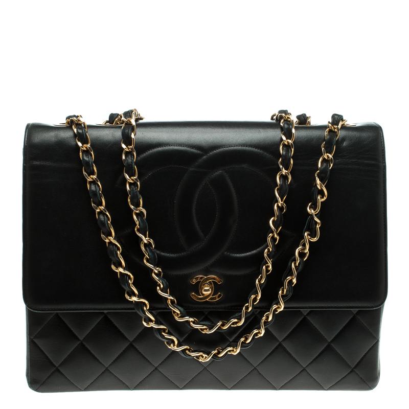 ec6c88a2311d ... Chanel Black Quilted Leather Maxi Vintage CC Flap Shoulder Bag.  nextprev. prevnext