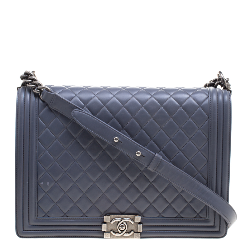 0005211307387a ... Chanel Grey Quilted Leather Large Boy Flap Bag. nextprev. prevnext