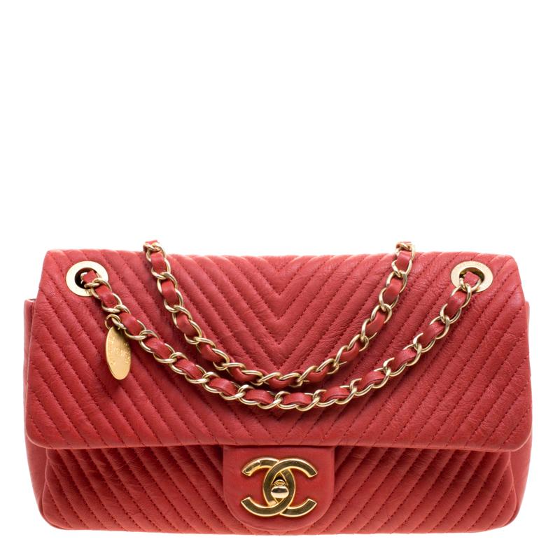 081feb5d83aeda Buy Chanel Red Chevron Leather Medium Flap Bag 114781 at best price ...