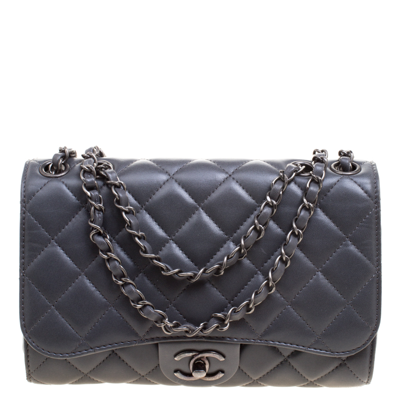 6bbd2229dd1f Chanel Grey Quilted Leather Clic Drawstring Flap Shoulder Bag. Chanel Clic Black  Lambskin Leather Quilted Full ...