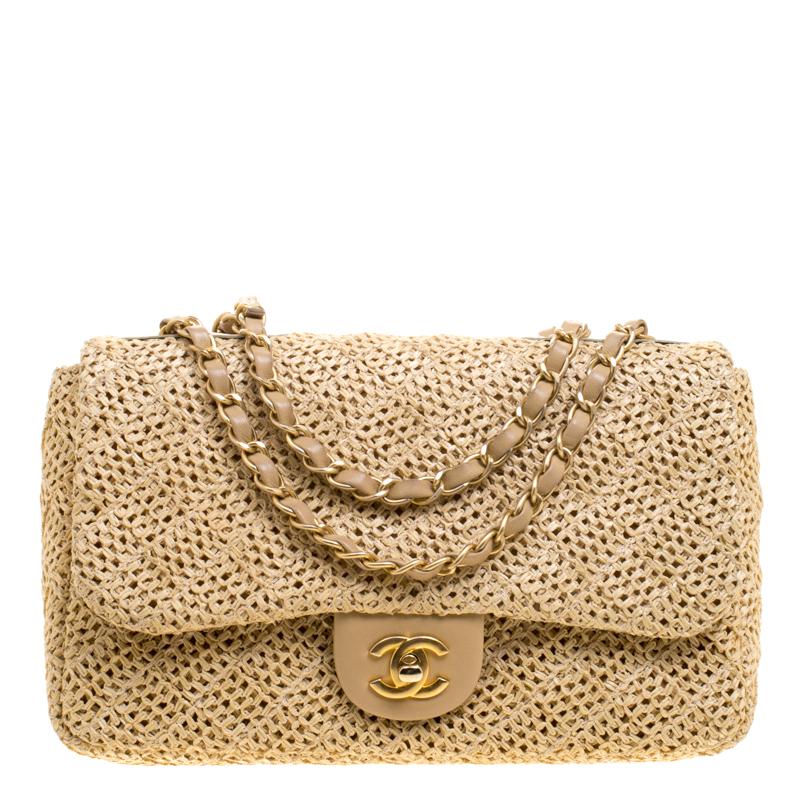 2dee5215c60b42 ... Chanel Beige Crochet Raffia Medium Classic Single Flap Bag. nextprev.  prevnext