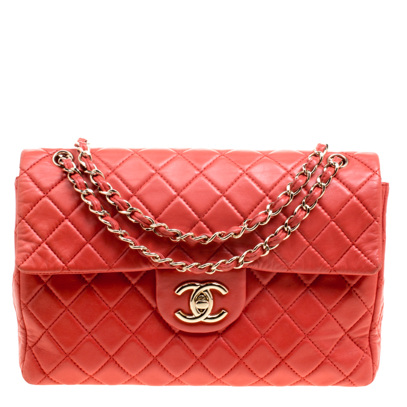a4499c3aaa4d82 Chanel Red Quilted Leather Maxi Jumbo Xl Clic Flap Bag 115737