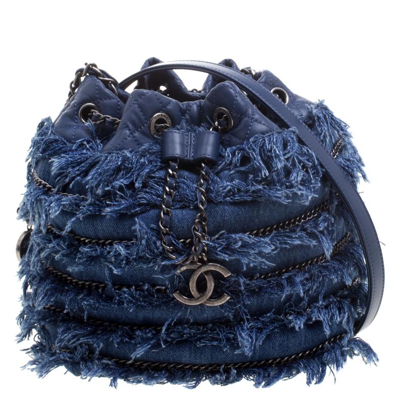 45ddb492c026 Buy Chanel Blue Denim CC Chains Fringe Drawstring Bucket Bag 115741 at best  price