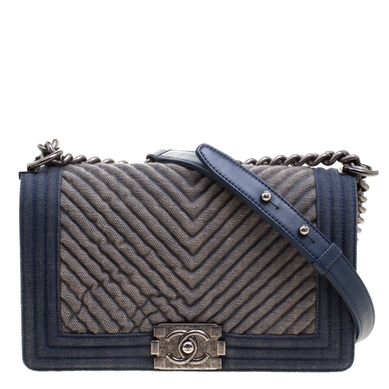 6bbbca69a7cd ... Chanel Blue Chevron Quilted Denim Medium Boy Flap Bag. nextprev.  prevnext