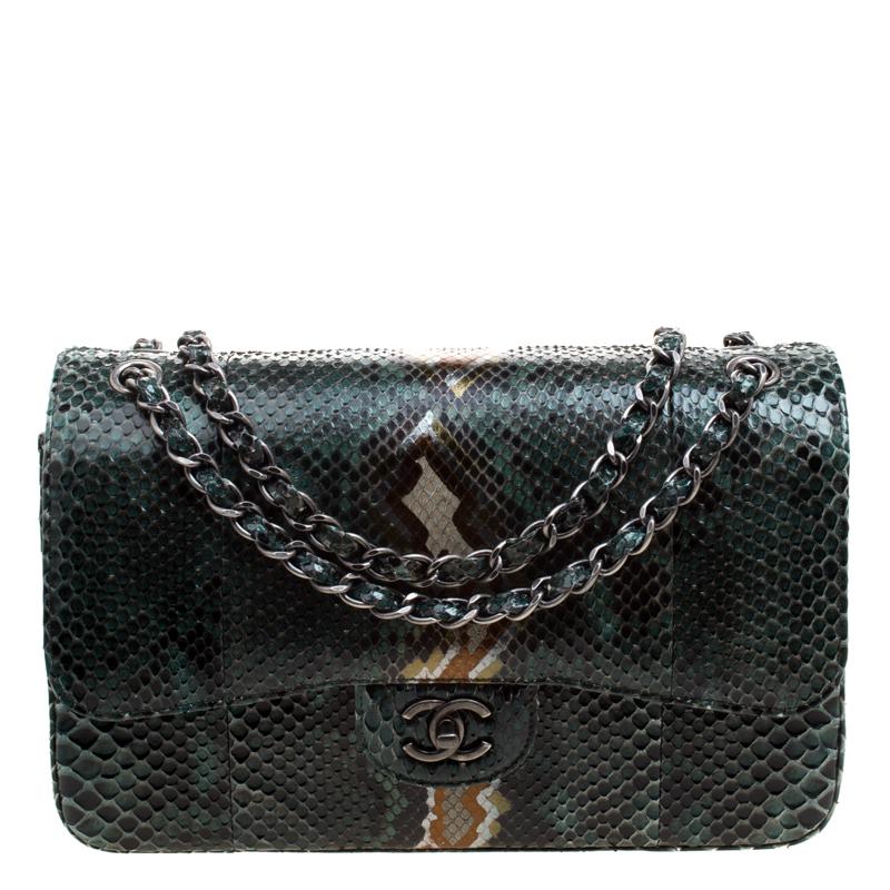 Chanel Metallic Green Python Jumbo Classic Double Flap Bag