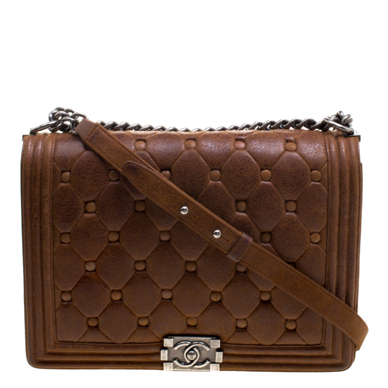 2f173be246fd26 ... Chanel Brown Quilted Leather Large Boy Flap Bag. nextprev. prevnext