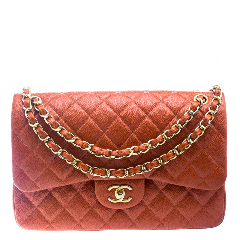 65d62fc3bcee ... Chanel Red Orange Glaze Quilted Caviar Leather Jumbo Classic Double  Flap Bag. nextprev. prevnext