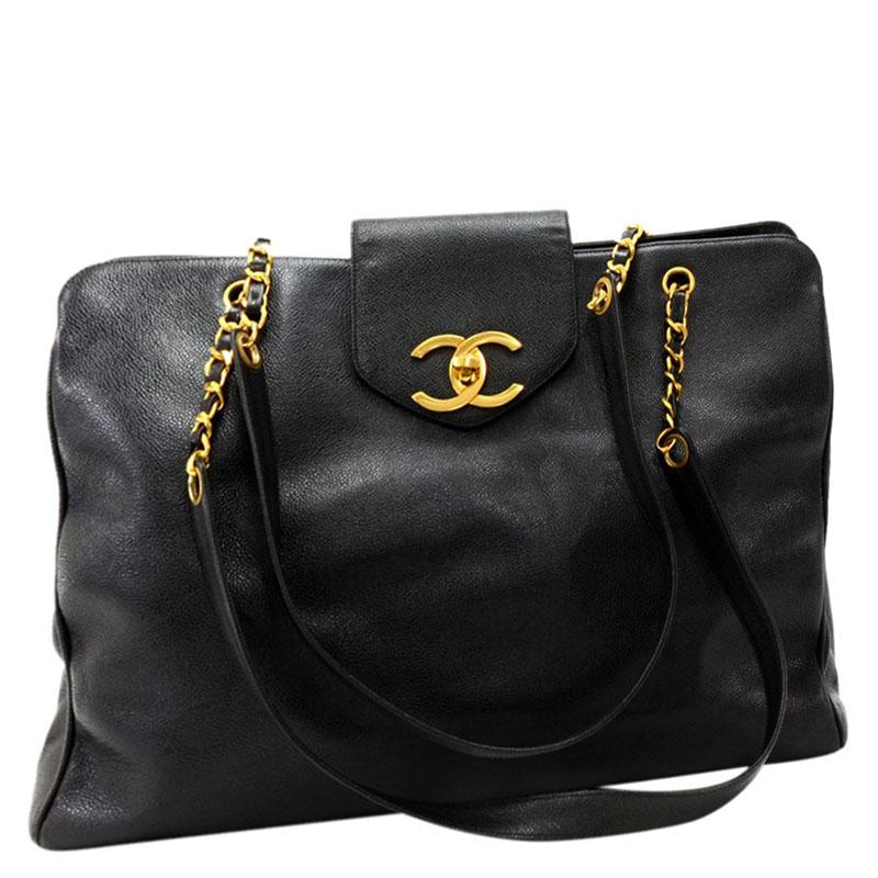 Chanel Black Leather Xl Supermodel Tote