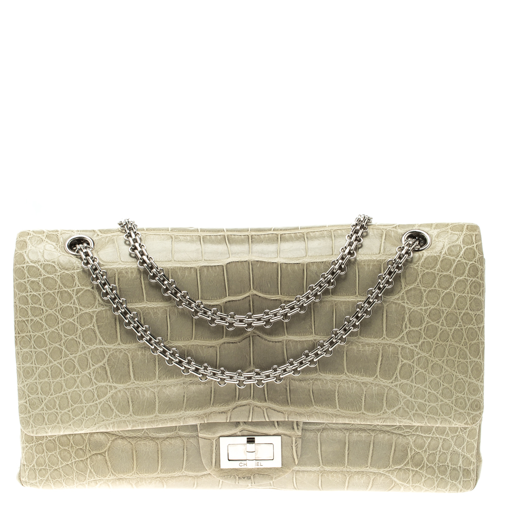Buy Chanel Grey Crocodile Reissue 2.55 Classic 227 Flap Bag 118912 ... 765d39a6c8