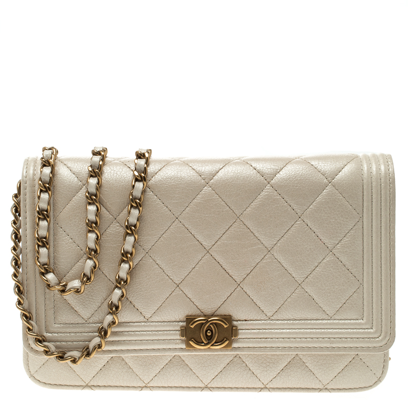 c950a261b790a1 ... Chanel White Quilted Shimmering Leather Boy WOC Clutch Bag. nextprev.  prevnext