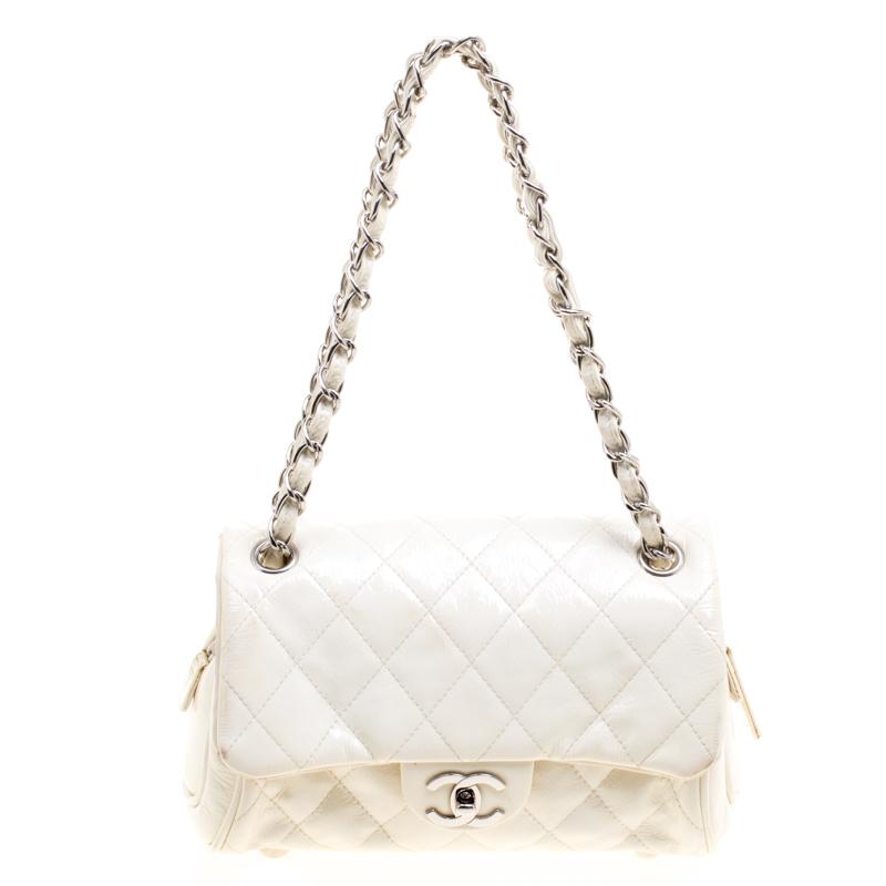 cbfec167155f ... Chanel White Quilted Patent Leather Classic Shoulder Bag. nextprev.  prevnext