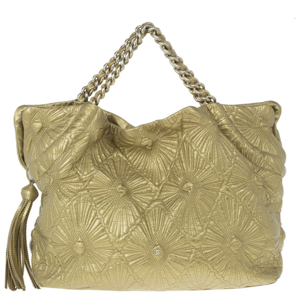 Chanel Gold Leather Sea Hit Large Tote Bag