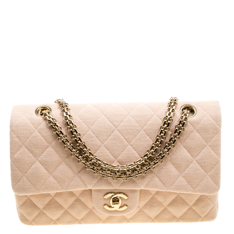 042d2936f5d0 Buy Chanel Biege Quilted Jersey Medium Bijoux Chain Classic Single ...