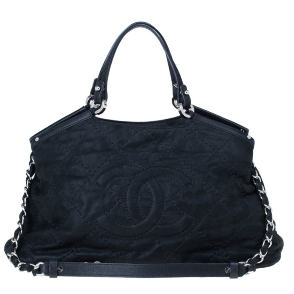 be1c76bbfbc1 Buy Chanel Black Leather Iridescent Sea Hit Tote 12143 at best price ...