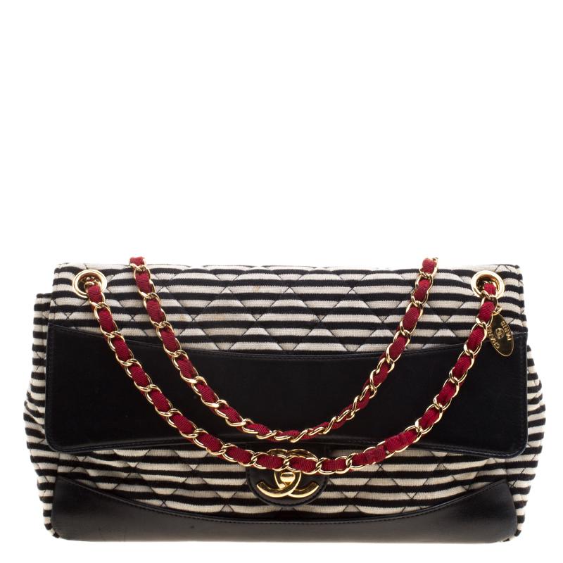 09cc20c6b769c2 ... Chanel Black/White Striped Jersey and Leather Coco Sailor Shoulder Bag.  nextprev. prevnext