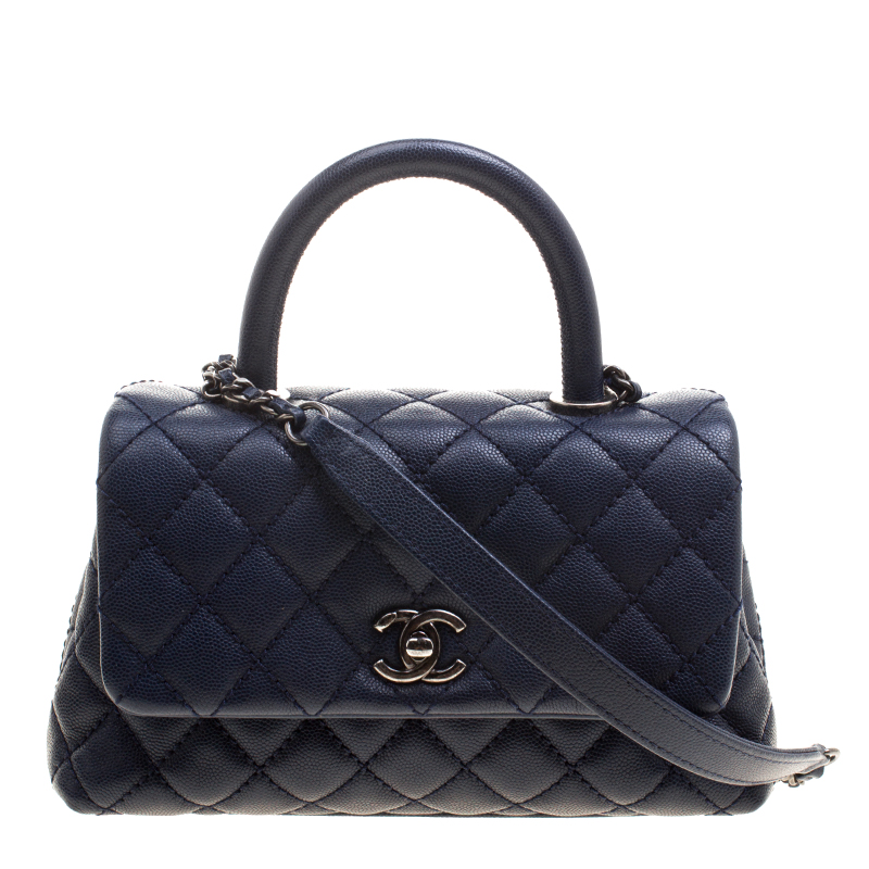 0a56f23e89e1 Buy Chanel Navy Blue Quilted Caviar Leather Mini Coco Top Handle Bag ...