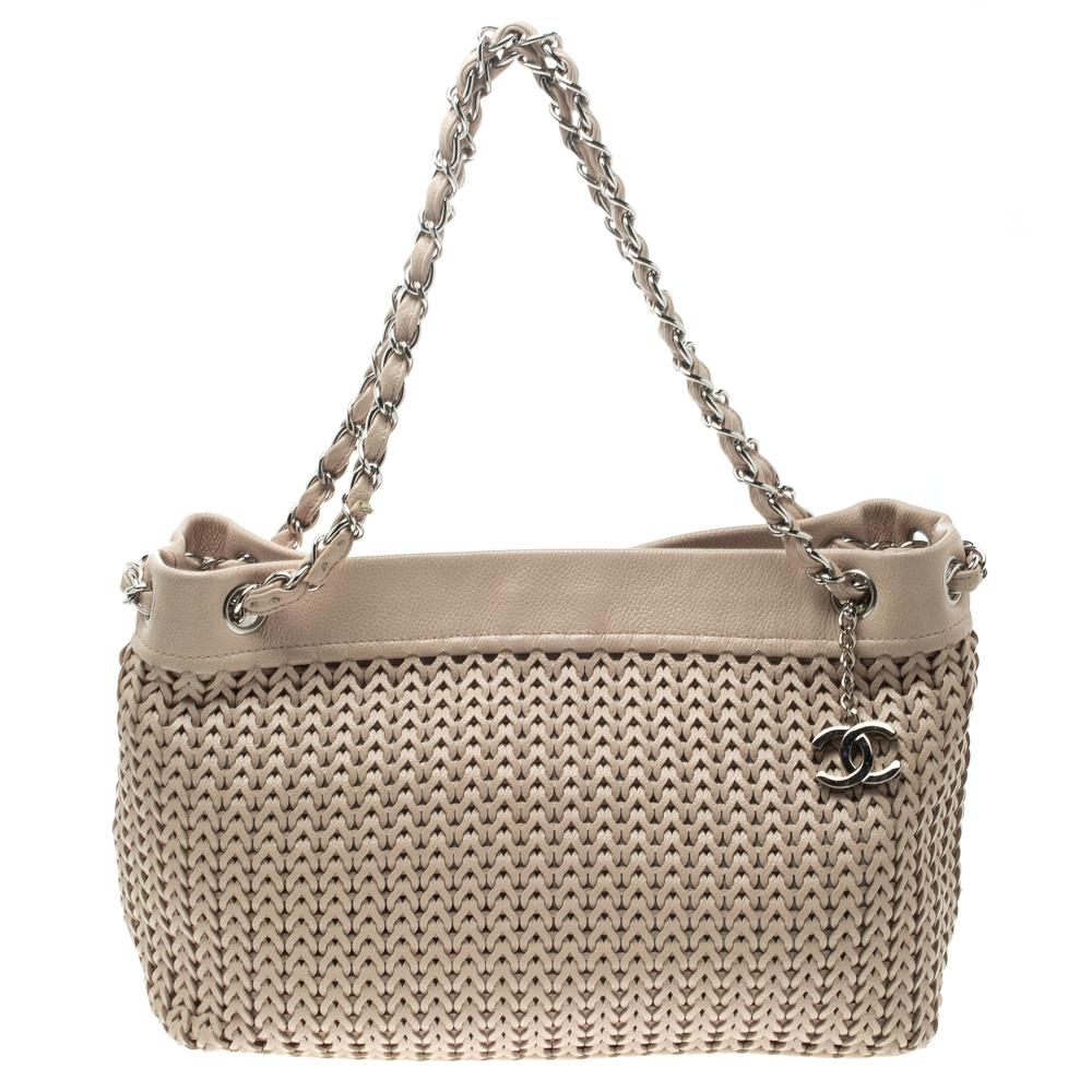 35d1394d5372 ... Chanel Biege Braided Leather CC Shoulder Bag. nextprev. prevnext