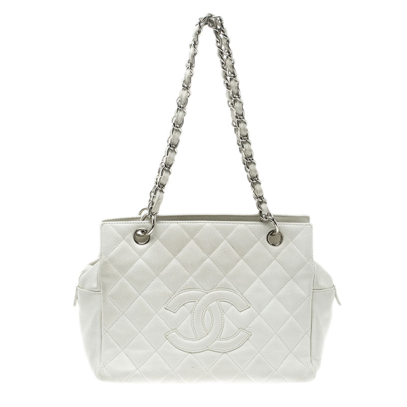 853954696f13 ... Chanel White Quilted Caviar Leather Petite Timeless Shopper Tote.  nextprev. prevnext