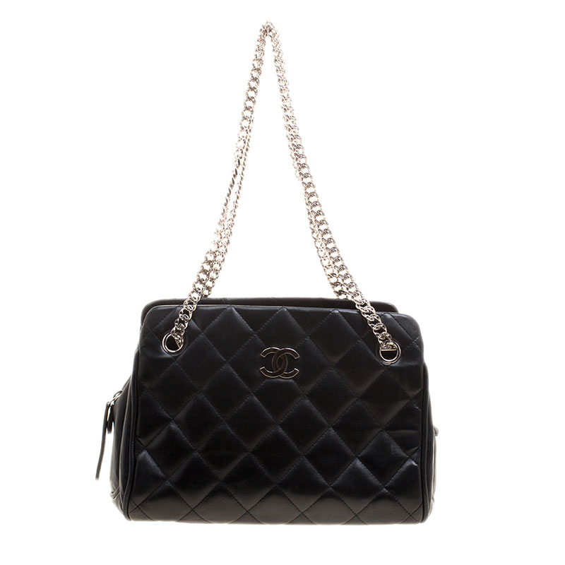 22ee1194a6bb Chanel Black Quilted Leather Small Cc Crown Tote 125572 At Best