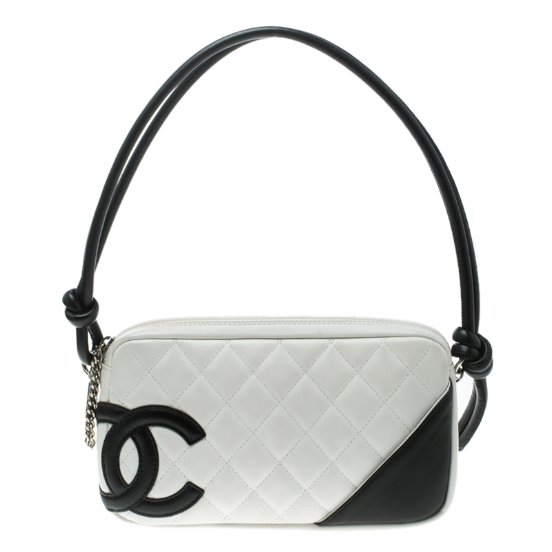 8cd035219fc4 Buy Chanel White Quilted Leather Ligne Cambon Pochette 125701 at ...