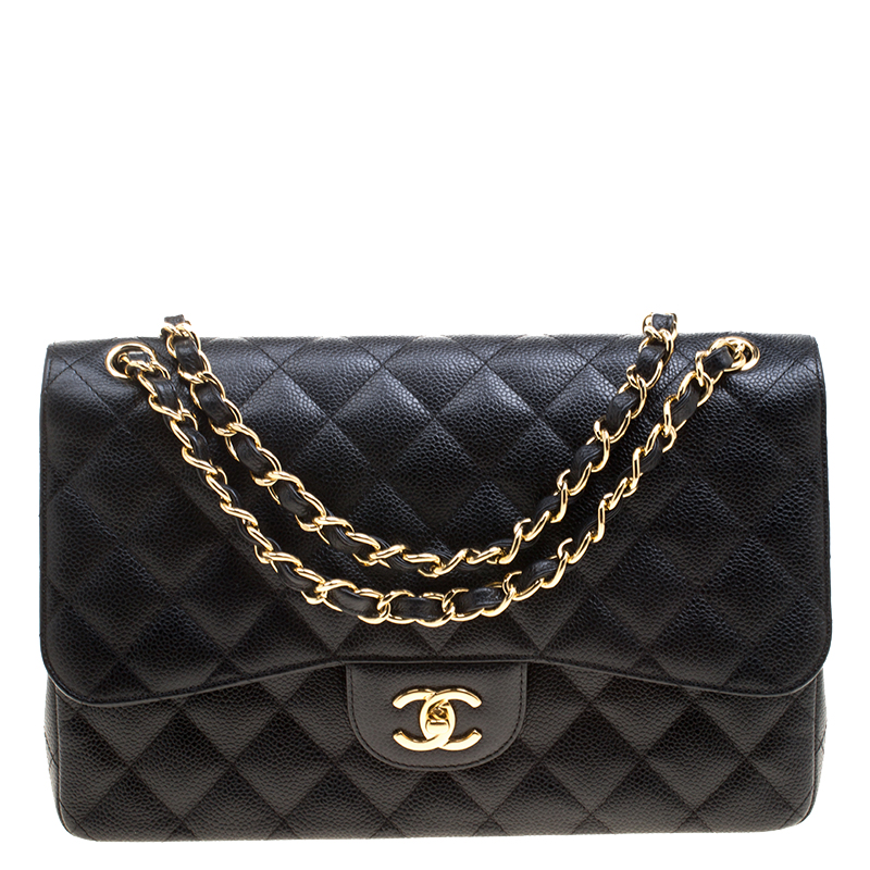 4d149d78ae5f ... Chanel Black Quilted Caviar Leather Jumbo Classic Double Flap Bag.  nextprev. prevnext