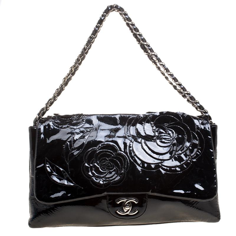 3b880e5b006da Buy Chanel Black Patent Leather Camellia Flap Shoulder Bag 126046 at ...