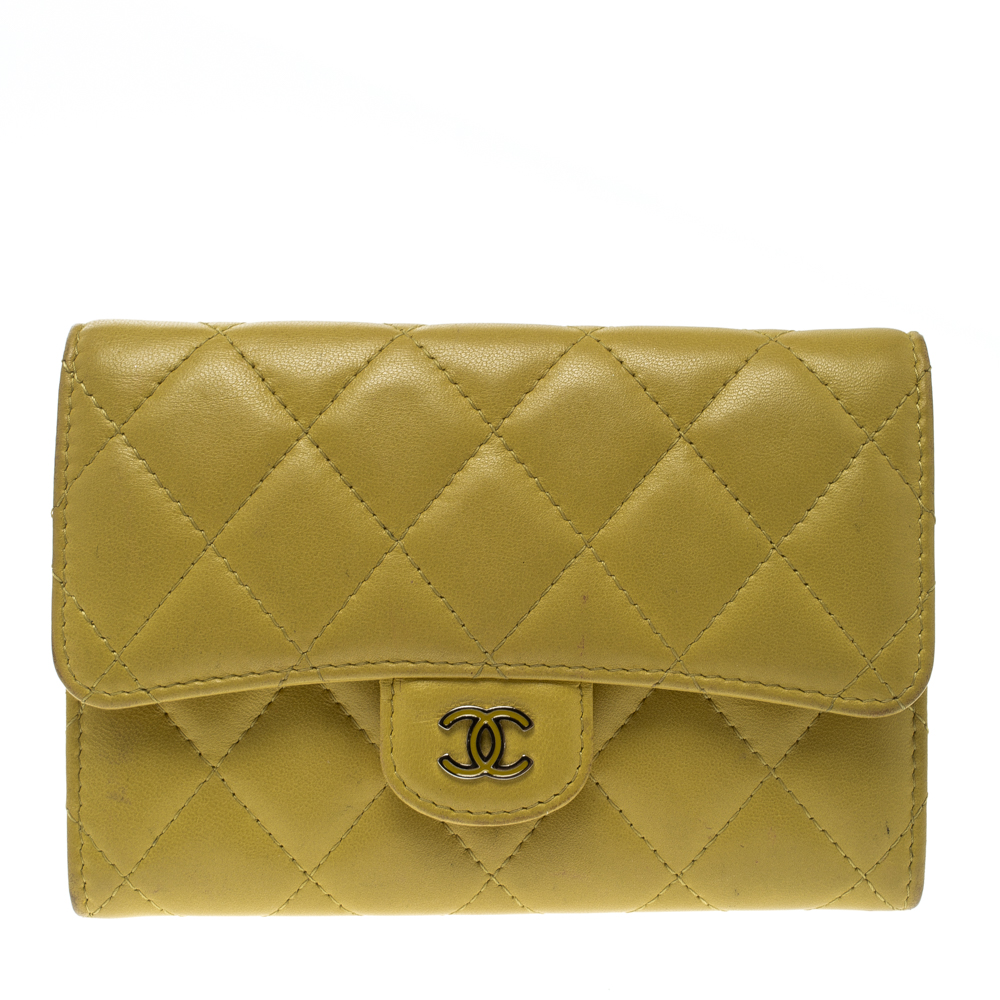 617fa5b29f59 ... Chanel Yellow Quilted Leather CC Flap Wallet. nextprev. prevnext
