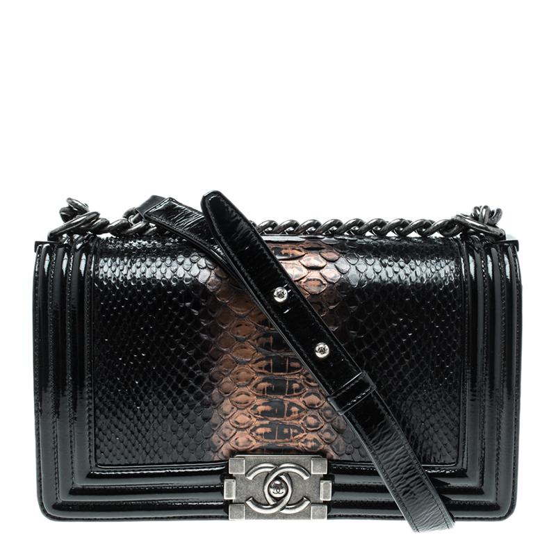 b68ebac27ec6 ... Chanel Black Ombre Python and Patent Leather Medium Boy Flap Bag.  nextprev. prevnext