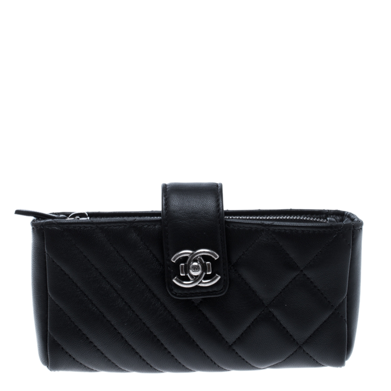 8ce8a5c1d911 ... Chanel Black Quilted Leather CC Phone Holder Clutch. nextprev. prevnext