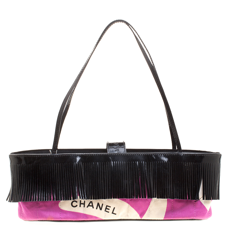 5f689c709b ... Chanel Pink and Black Quilted Canvas and Patent Leather Fringe Mini Tote  Bag. nextprev. prevnext